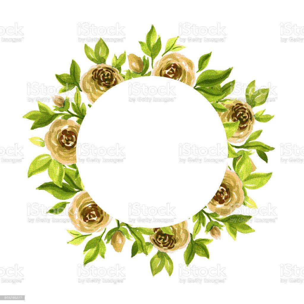 Aquarell Gartenrosen Kreis Rahmen Handgemalte Florale Vorlage Stock ...