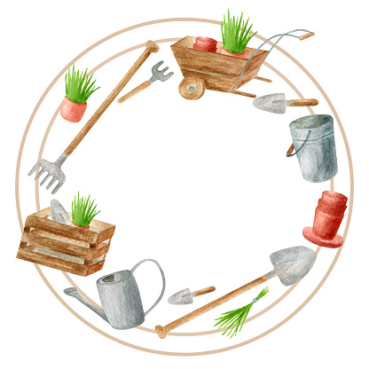 Watercolor gardening tools round frame. Hand drawn watering can, rake, bucket, wood box, shovel, seedling in flower pot and wheelbarrow isolated on white. Spring, summer template for cards, banners.