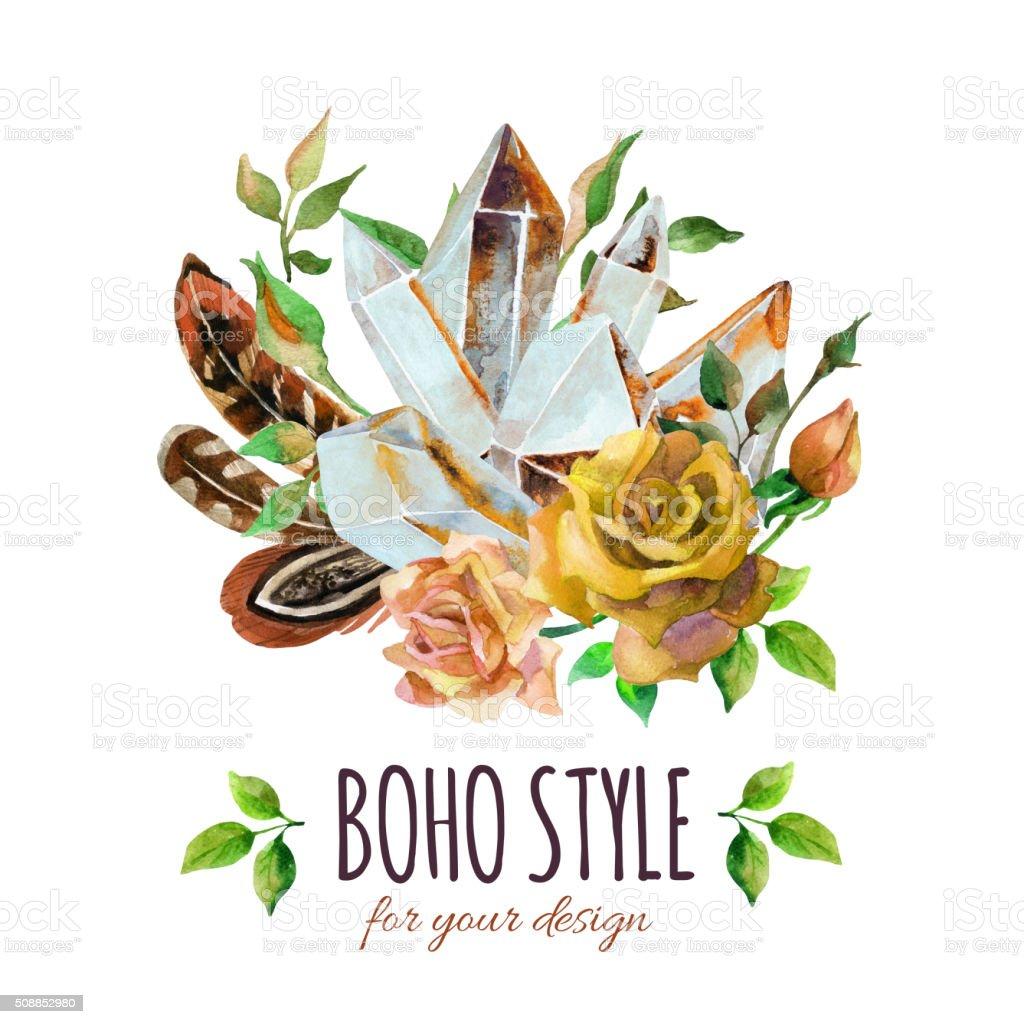 Watercolor gems, feathers and flowers arrangement vector art illustration
