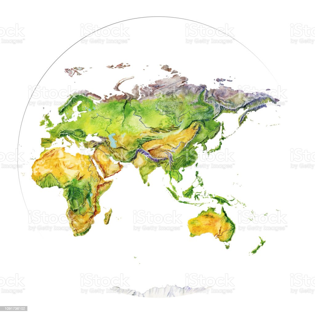 Image of: Watercolor Geographical Map Of The World Fragment Europe Asia Africa Australia Indonesia Stock Illustration Download Image Now Istock