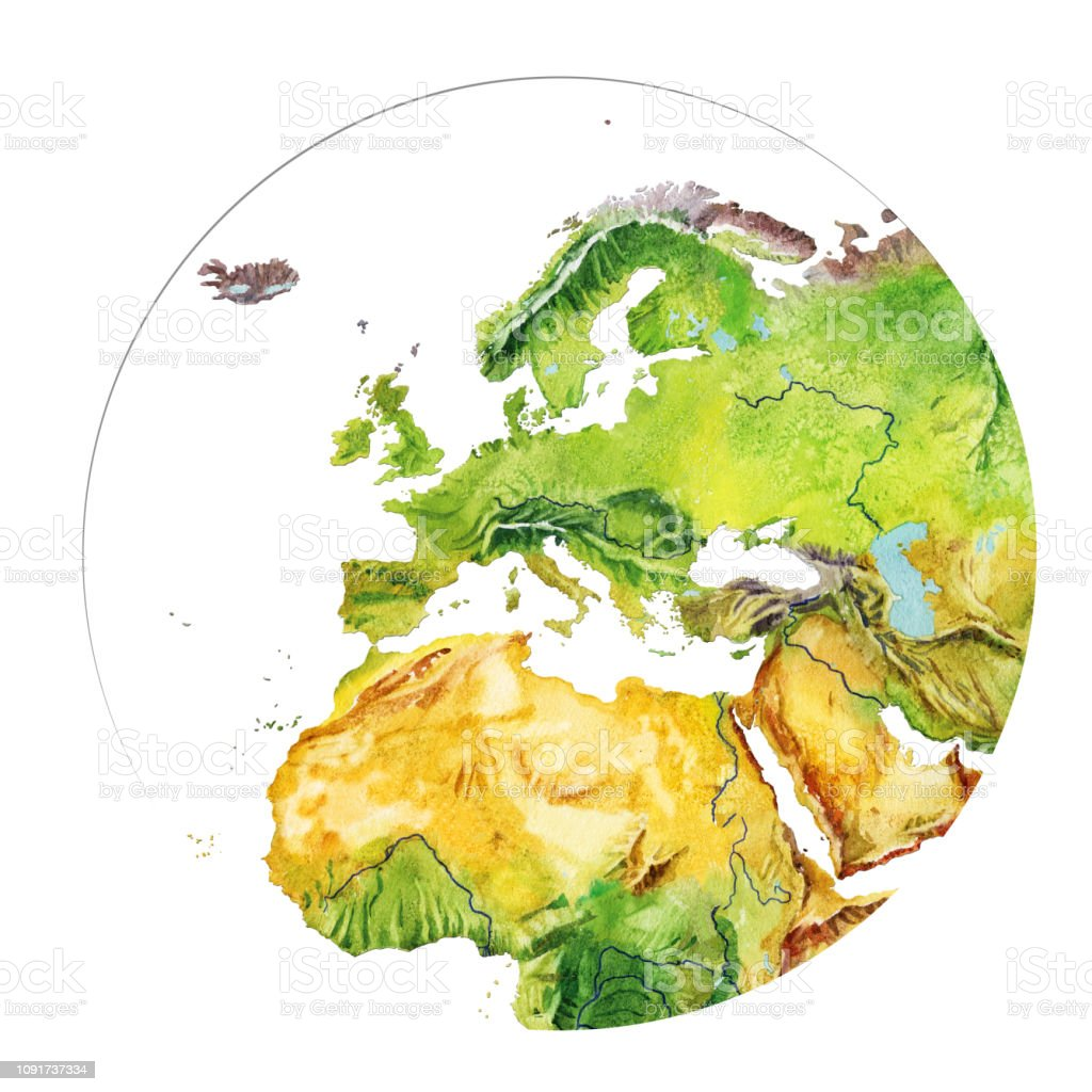 Picture of: Watercolor Geographical Map Of The World Fragment Europe Asia Africa North America South America Stock Illustration Download Image Now Istock