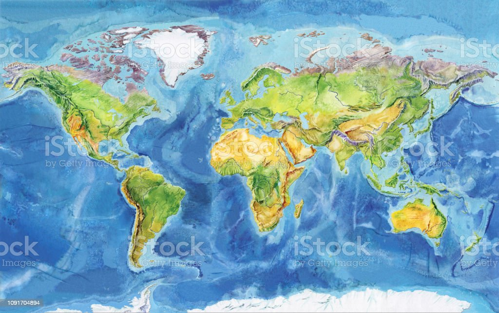 Mapa Geografico Del Mundo.Ilustracion De Acuarela Mapa Geografico Del Mundo Y Mas