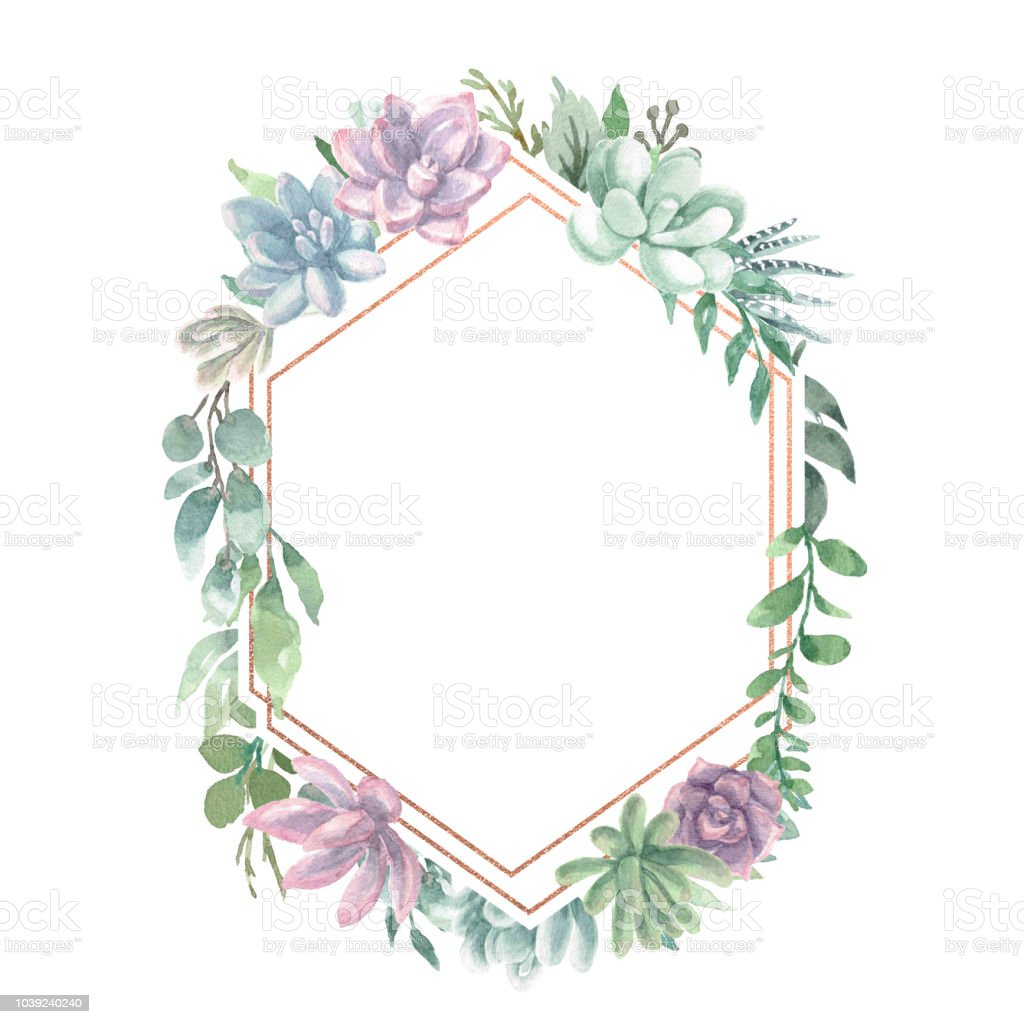 Watercolor Geometric Frame Stock Illustration - Download