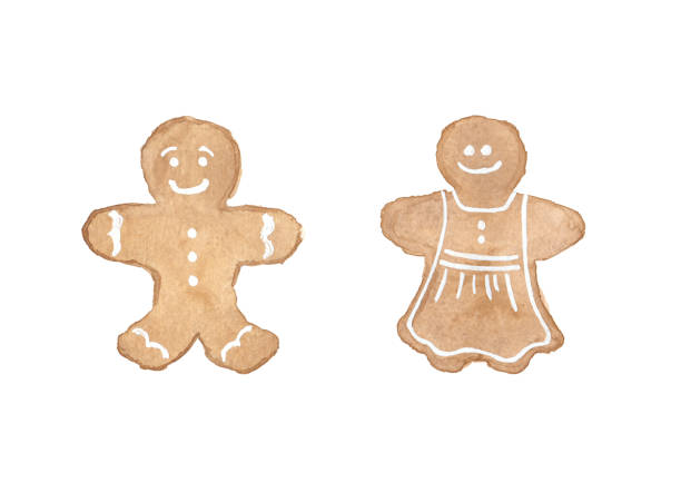 Watercolor Gingerbread Man and Woman Cookies Isolated on White Background vector art illustration