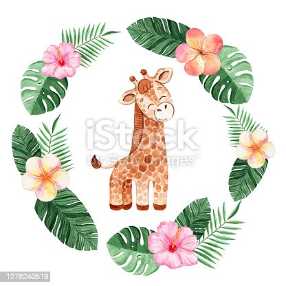 istock watercolor giraffe in round frame  with tropical leaves and flowers isolated on white background 1278240519