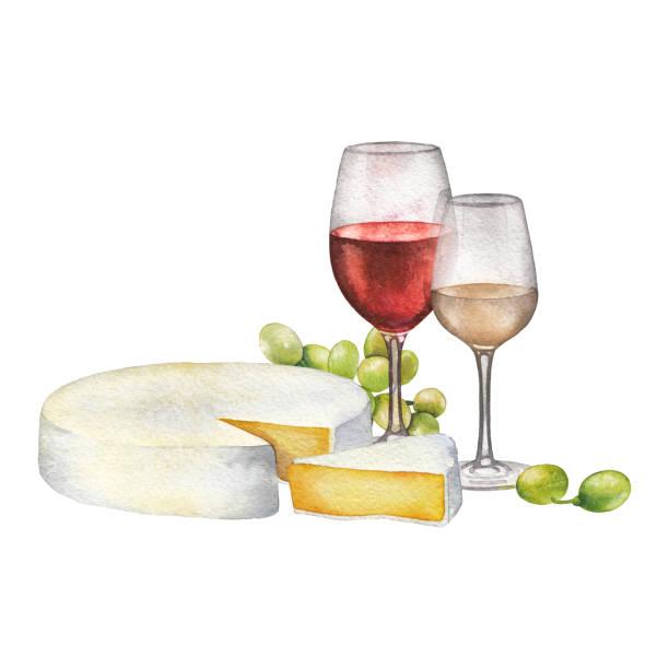 赤・白ワイン、チーズ、白ブドウの水彩のメガネ - マスカット イラスト点のイラスト素材/クリップアート素材/マンガ素材/アイコン素材