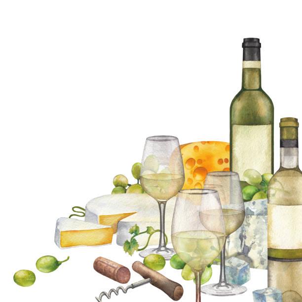 白ワイン、ボトル、白ブドウとチーズの水彩画のメガネ。 - マスカット イラスト点のイラスト素材/クリップアート素材/マンガ素材/アイコン素材