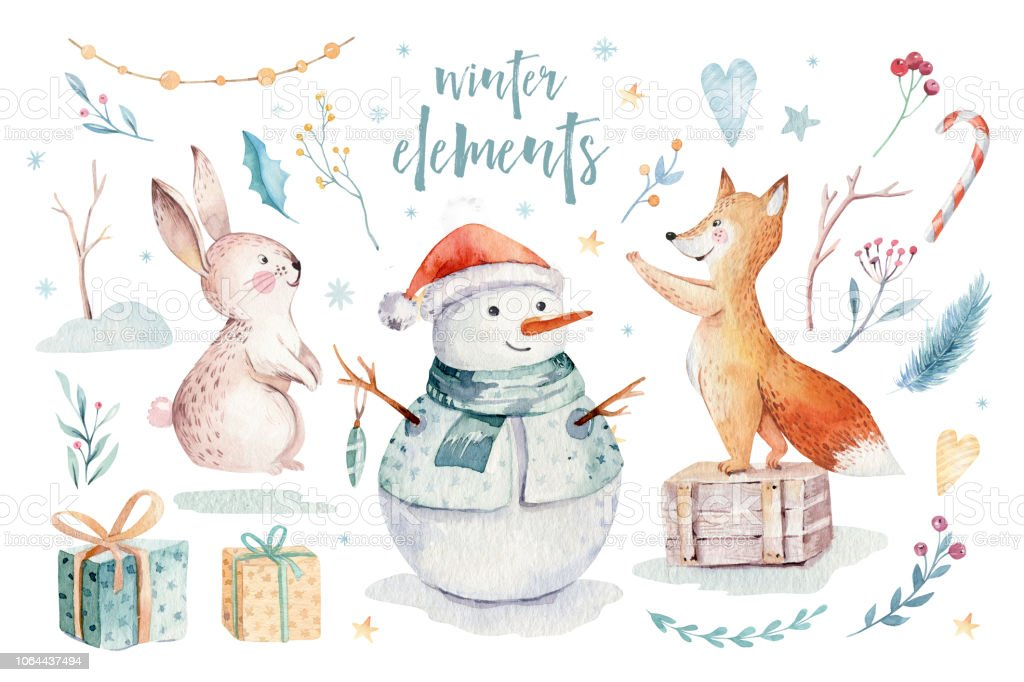 Merry Christmas Illustration.Watercolor Gold Merry Christmas Illustration With Snowman