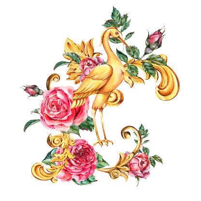Watercolor golden baroque crane, red rose, floral curl, rococo ornament element. Hand drawn gold scroll, leaves isolated on white background. Vintage design collection
