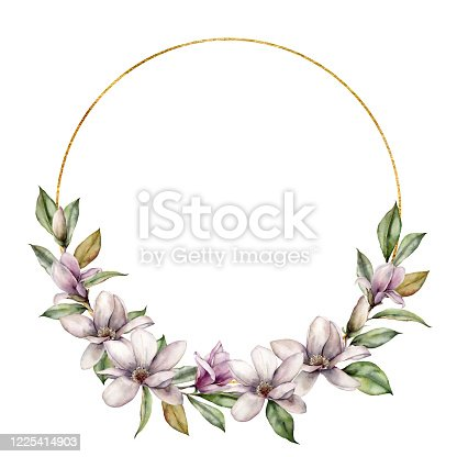 istock Watercolor golden wreath with magnolia. Hand painted flowers and leaves composition isolated on white background. Holiday floral illustration for design, print, fabric or background. 1225414903