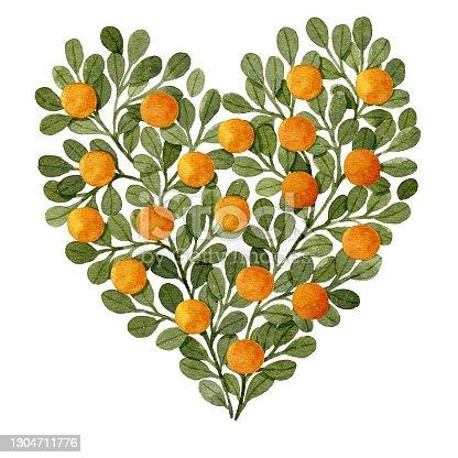 istock Watercolor green branches and oranges in heart shape greeting card template. 1304711776