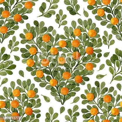 istock Watercolor green branches and oranges in heart shape. Watercolor seamless pattern. 1304711777