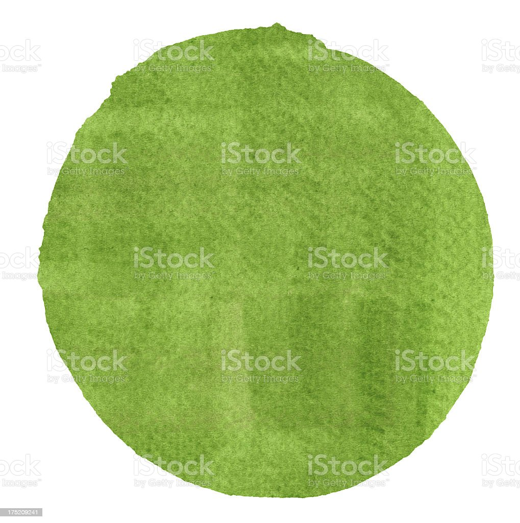 Watercolor Green Circle (Clipping Path) royalty-free stock vector art