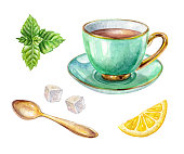 istock watercolor green cup of tea, lemon, mint, gold spoon, illustration isolated on white background 664313624