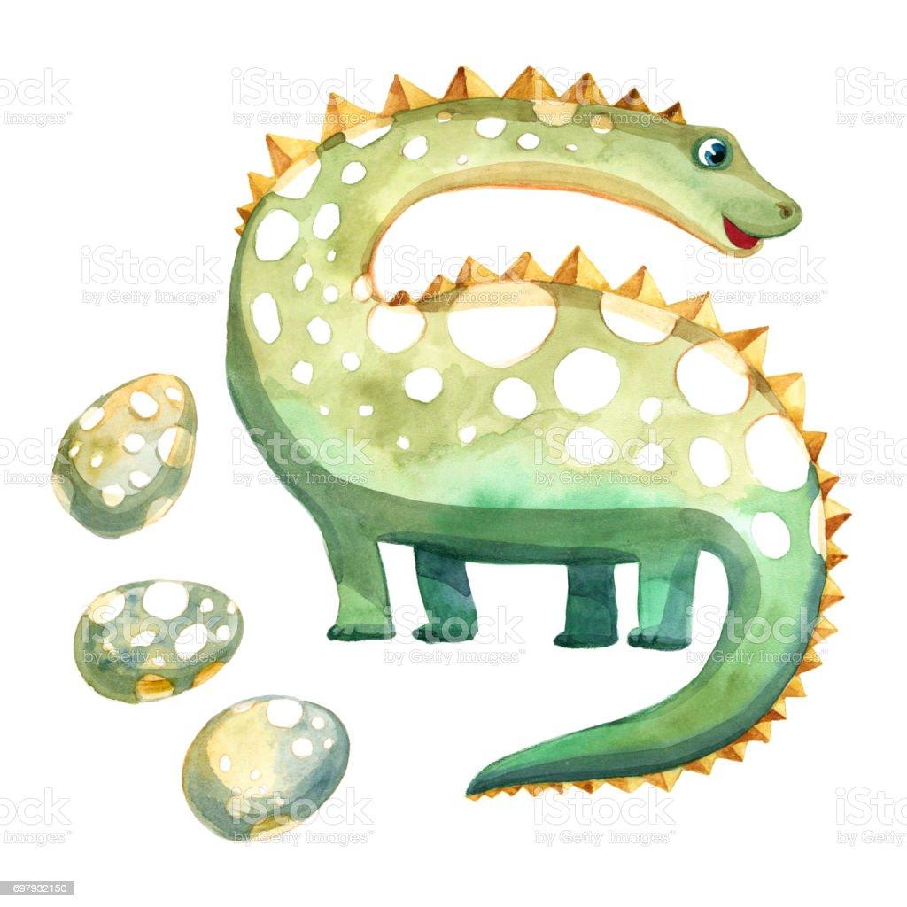 85213d2f33 dinosaurio verde acuarela con huevos sobre fondo blanco. dibujo del niño.  ilustración de dinosaurio