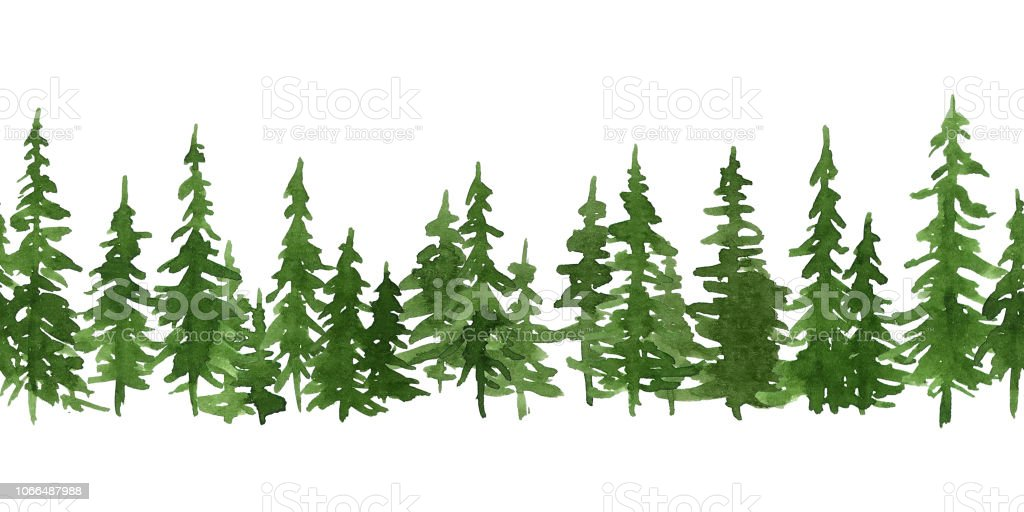 Sulu Boya Yeşil çam Ağaçları Noel Ve Yeni Yıl Yatay Seamless Modeli