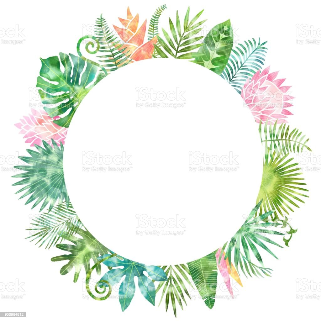 Watercolor Green Tropical Plants Frame Place For Your Text