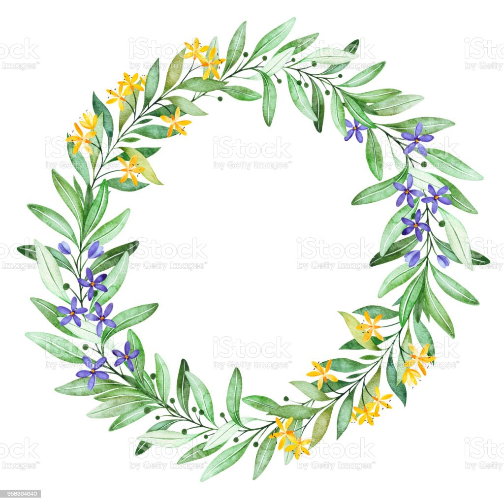 Watercolor green wreath. Wteath with small...