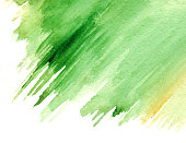 Watercolor green yellow spot backdrop texture background isolated.