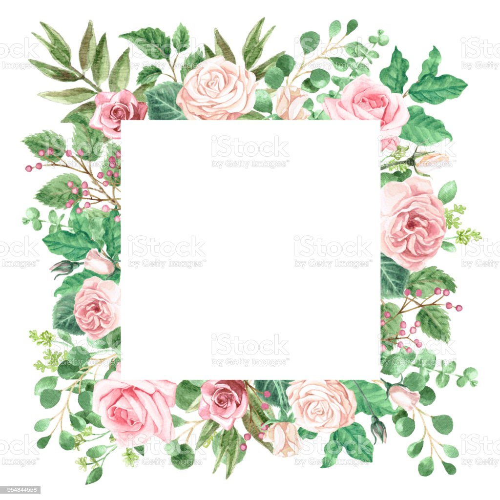 Watercolor Greenery and Roses Bouquet Frame vector art illustration