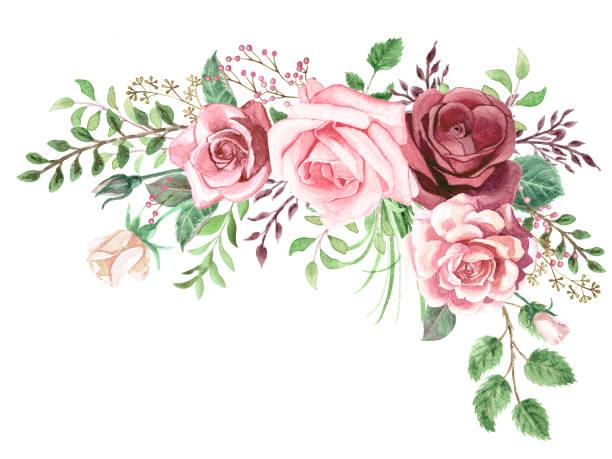 水彩綠葉和玫瑰角花束 - 淺粉色 幅插畫檔、美工圖案、卡通及圖標