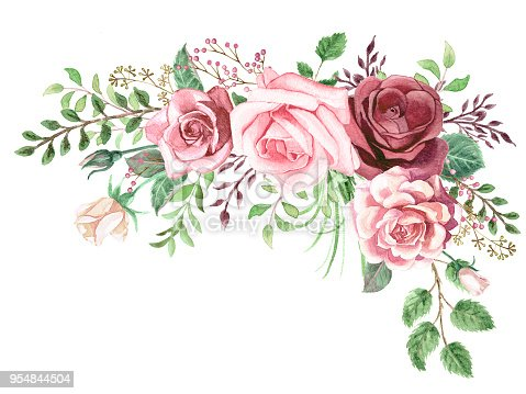 watercolor greenery and roses corner bouquet stock vector