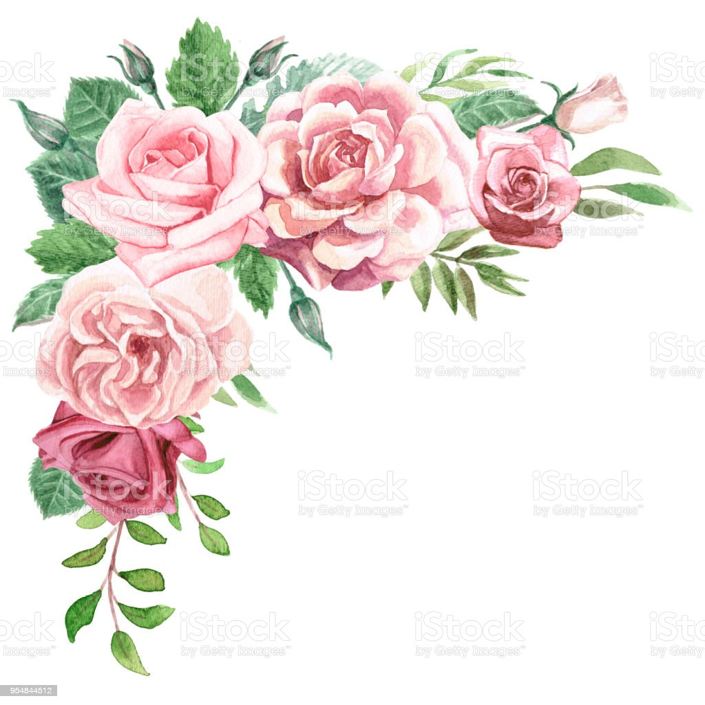 Watercolor Greenery and Roses Corner Bouquet vector art illustration