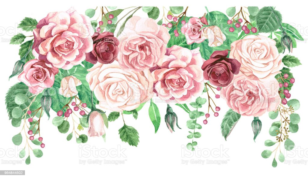 Watercolor Greenery and Roses Floral Drop Bouquet vector art illustration