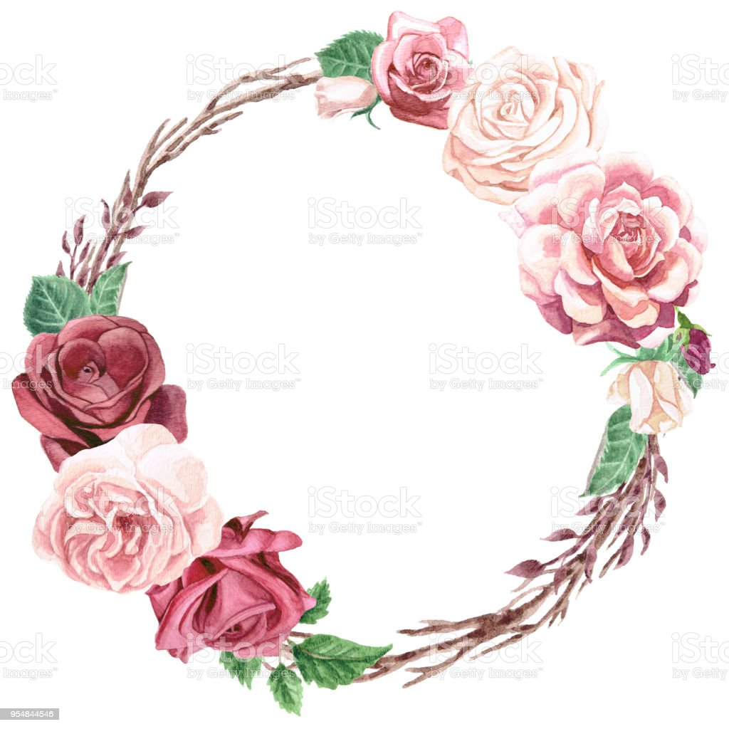 Watercolor Greenery and Roses Wreath Bouquet vector art illustration