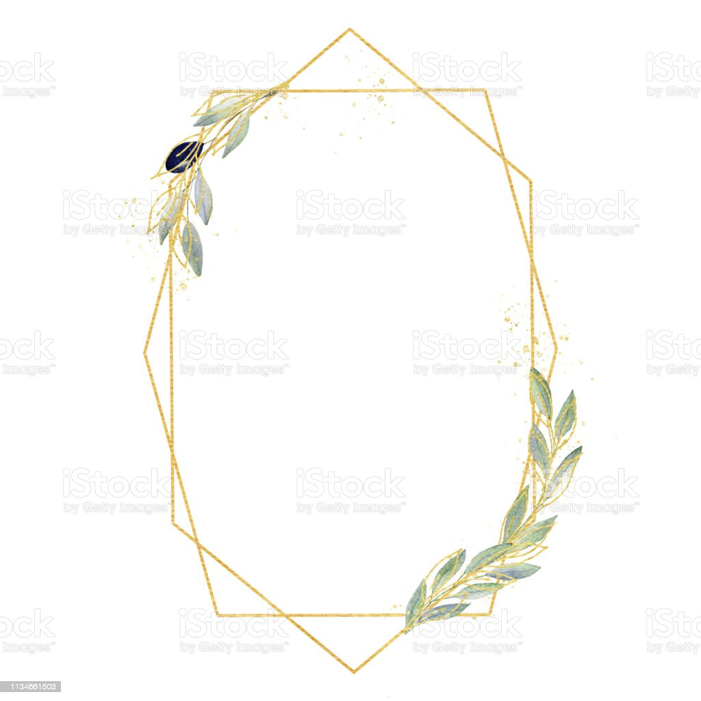 Watercolor greenery olive frame in green and gold colors. Frame,...