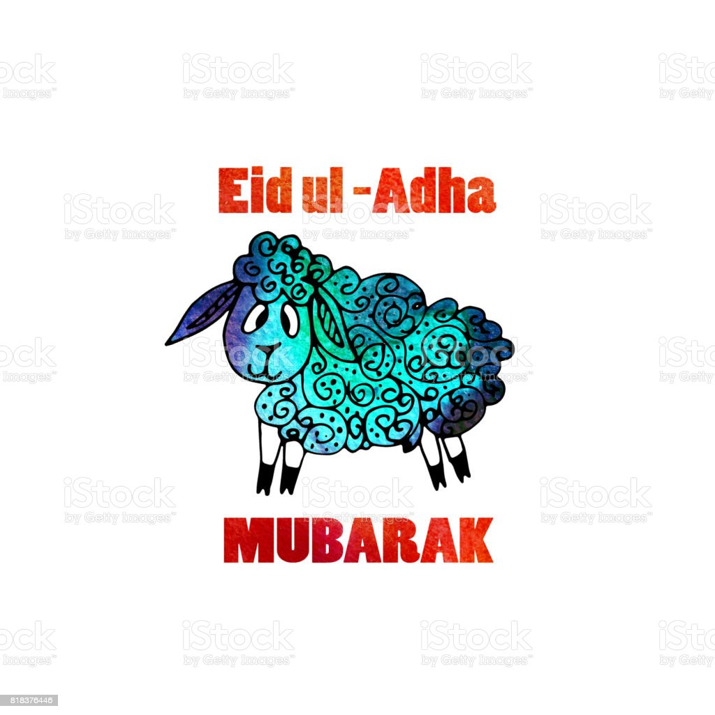 Watercolor greeting card of eid al adha mubarak feast of sacrifice watercolor greeting card of eid al adha mubarak feast of sacrifice famous festival of kristyandbryce Images
