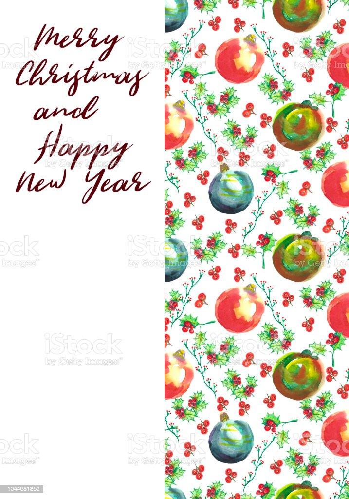 Watercolor Greeting Christmas Card Hand Painted Christmas Balls And ...