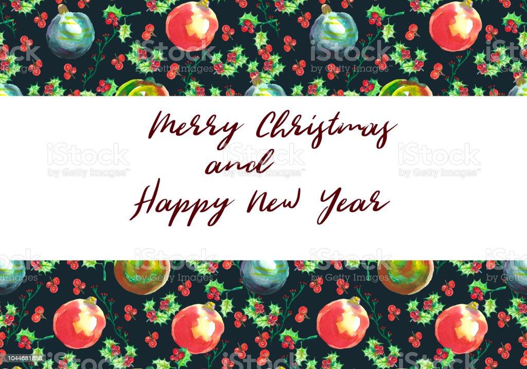 Handbemalte Christbaumkugeln.Aquarell Grußkarte Zu Weihnachten Handbemalte Christbaumkugeln Und