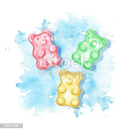 Watercolor  gummy bears on blue stain background