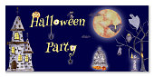 istock Watercolor Halloween banner with a message. Banner with an old castle and a big moon, with ghosts and pavucks. Halloween lettering. 1342437404