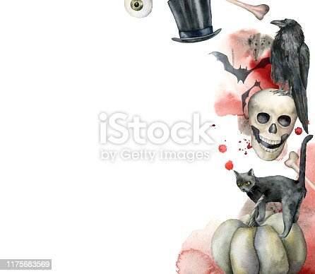 Watercolor halloween card with crow and skull. Hand painted template with cat, hat, blood and bat isolated on white background. Holiday composition. Illustration for design, print or background