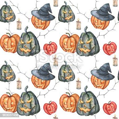 Ilustración de Acuarela Patrón De Calabazas De Halloween Calabazas ...