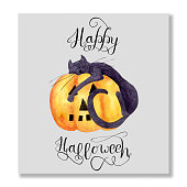 istock Watercolor Halloween square card with Sleeping Black Cat on an orange pumpkin on a gray background. Greeting card with a wish, with lettering Happy Halloween. 1341440780