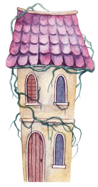 ilustrações de stock, clip art, desenhos animados e ícones de watercolor hand drawn abandoned hut with ivy. hand drawn haunted house - ivy building