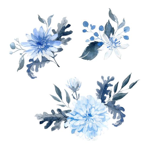 Arrangements dessinés à la main à l'aquarelle. Bouquet bleu et noir. - Illustration vectorielle