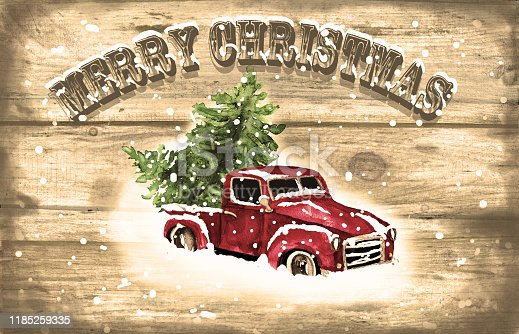 Watercolor hand drawn artistic colorful retro vintage car with Christmas tree on wooden  background