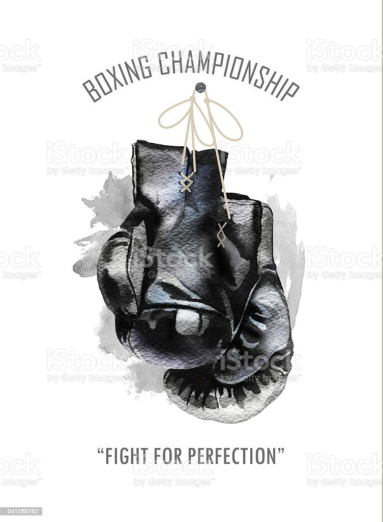 Watercolor hand drawn black  boxing gloves illustration. vector art illustration