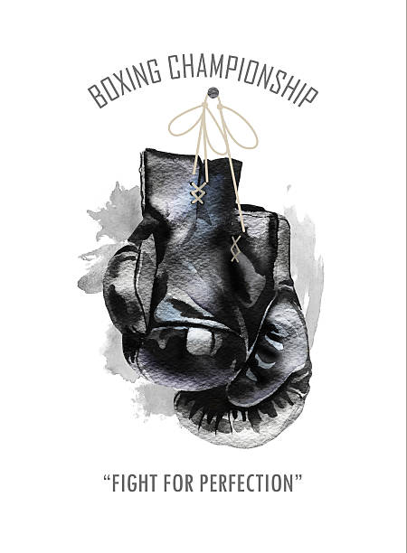 ilustraciones, imágenes clip art, dibujos animados e iconos de stock de watercolor hand drawn black  boxing gloves illustration. - boxeo deporte