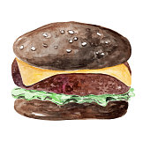 istock watercolor hand drawn black burger with cheese and salad isolated on white background 1315585520