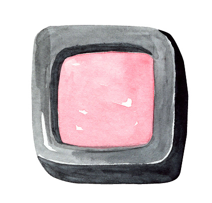 watercolor hand drawn blush for cheeks in black box isolated on white background
