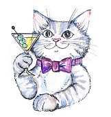 Watercolor hand drawn cat with cocktail