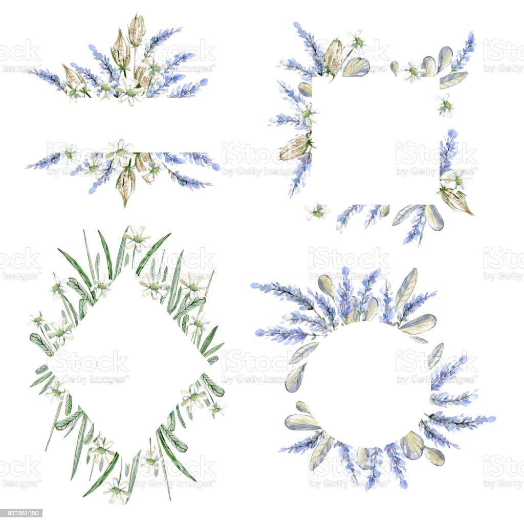 水彩の手描きのフレーム招待状のテンプレートですハーブの花