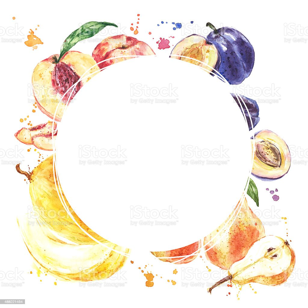 Watercolor hand drawn fruits. Eco food menu background vector art illustration