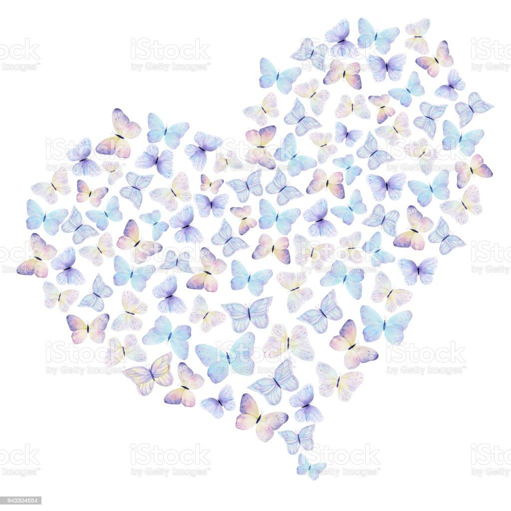 Kelebek Beyaz Zemin üzerine Suluboya Elle çizilmiş Kalp Tebrik Ve