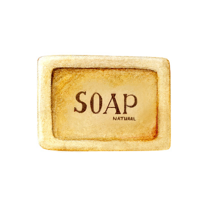 Watercolor hand drawn illustration of a yellow organic soap isolated on white background. Bathroom zero waste soap, eco-friendly lifestyle, waste free hand made healthcare.